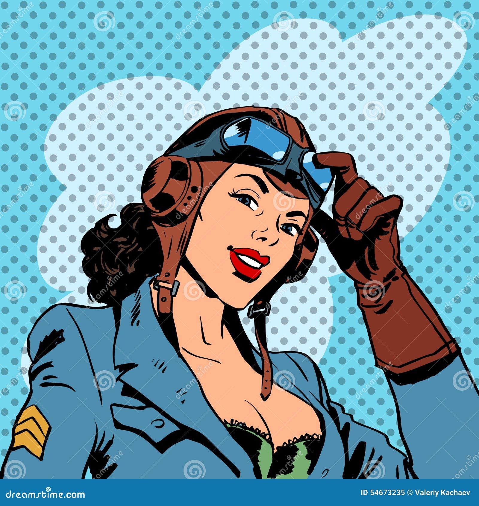 Pin up girl pilot aviation army beauty pop art