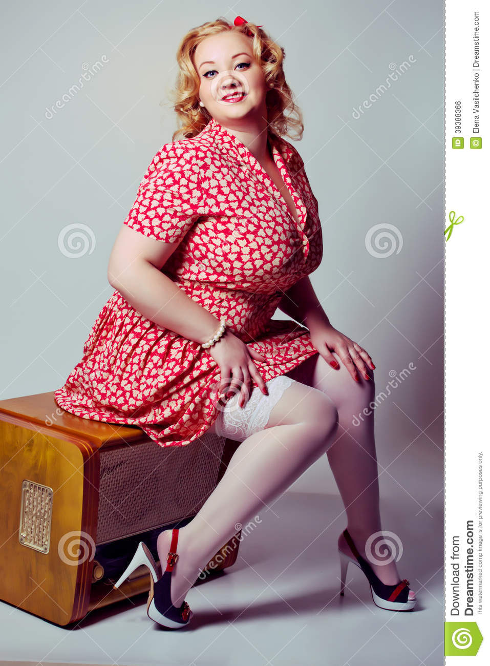 pin up girl posing over white background stock photo image 39388366. Black Bedroom Furniture Sets. Home Design Ideas
