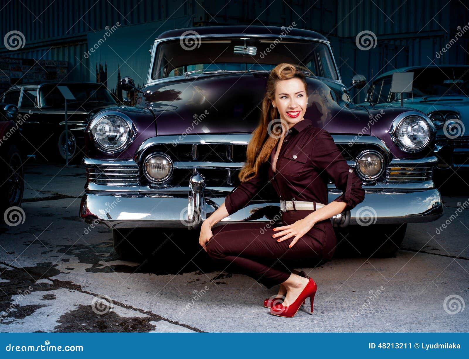 Pin Up Girl In Retro Car Stock Photo Image 48213211