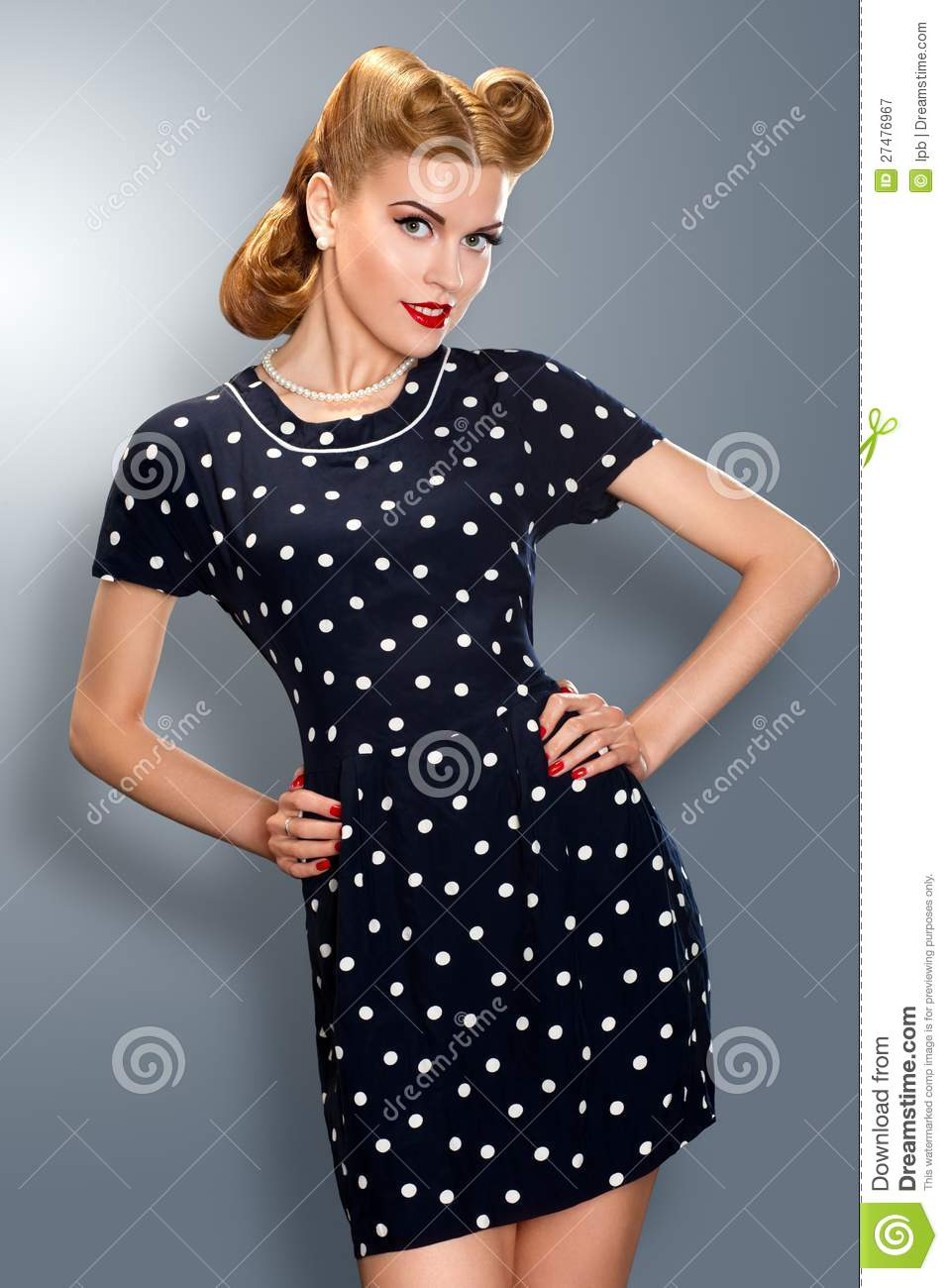 Pin-up Girl In Retro Vintage Dress Posing Royalty Free Stock ...