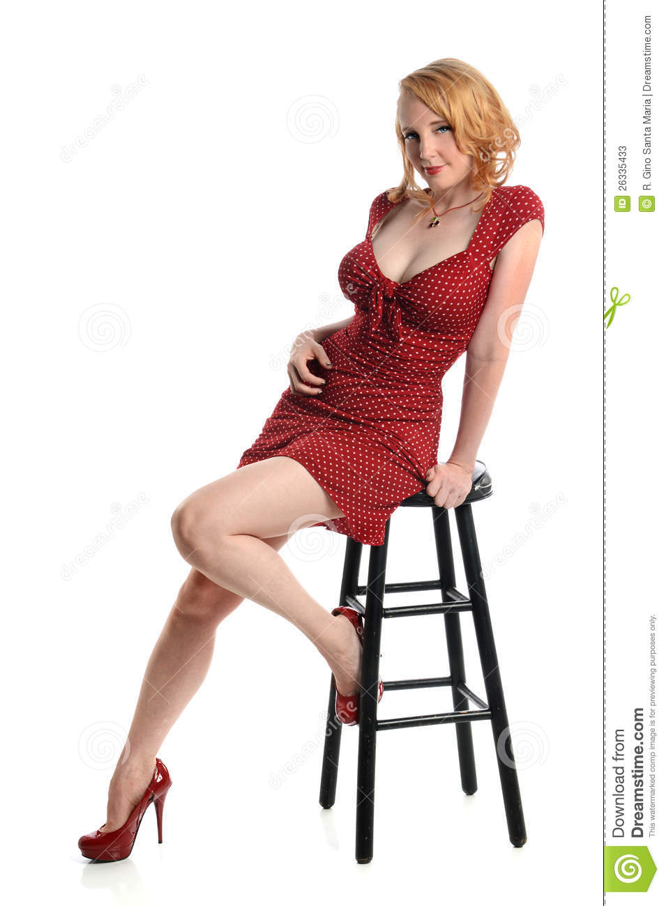 Pin Up Girl Seated On Stool Stock Photos Image 26335433