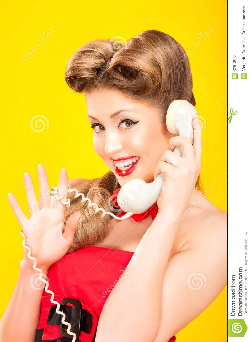 pin up girl talking on retro telephone stock image image 32913905. Black Bedroom Furniture Sets. Home Design Ideas