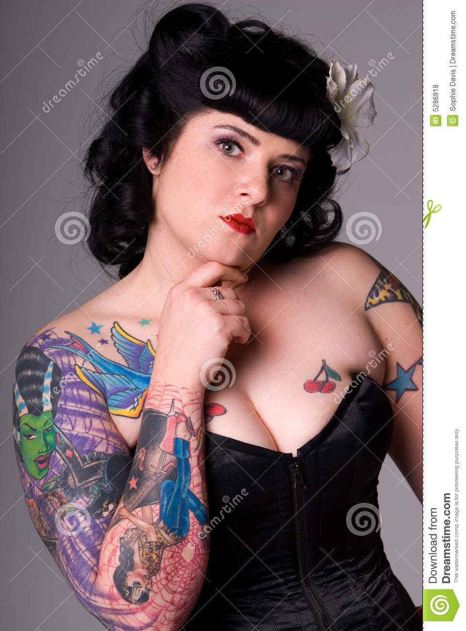 Pin Up Girl With Tattoos Stock Image Image Of Girl Individual