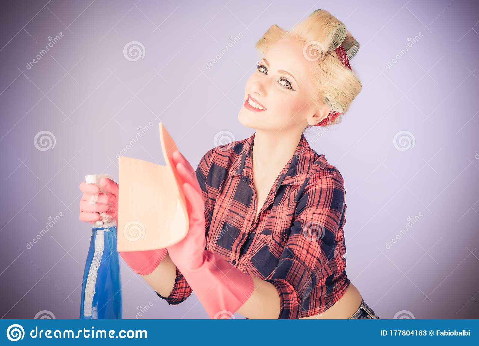 Retro. Portrait Of Woman Girl With Pinup Hairstyle Stock