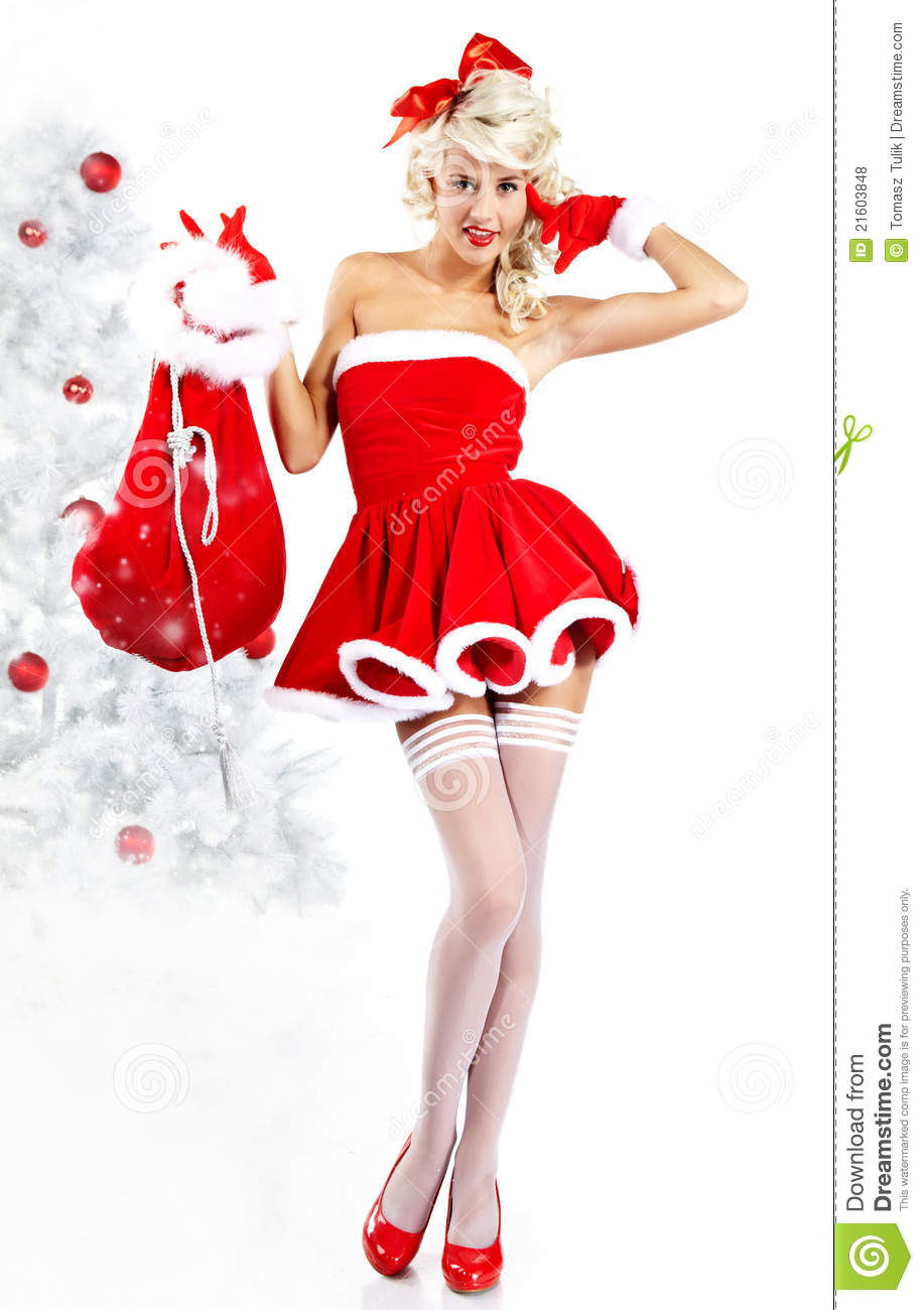pin up girl wearing santa claus clothes stock photo image 21603848. Black Bedroom Furniture Sets. Home Design Ideas