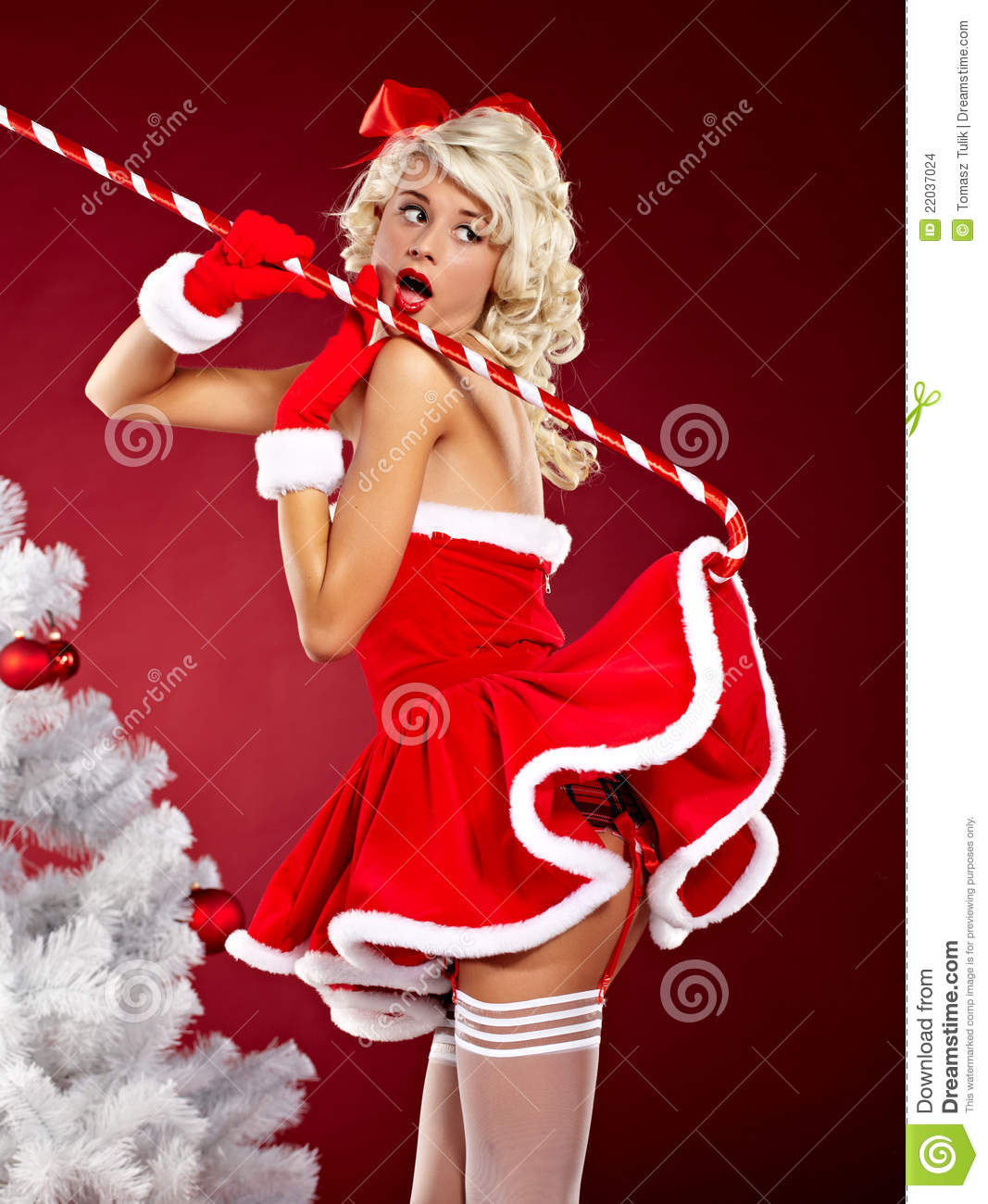pin up girl wearing santa claus clothes stock images. Black Bedroom Furniture Sets. Home Design Ideas