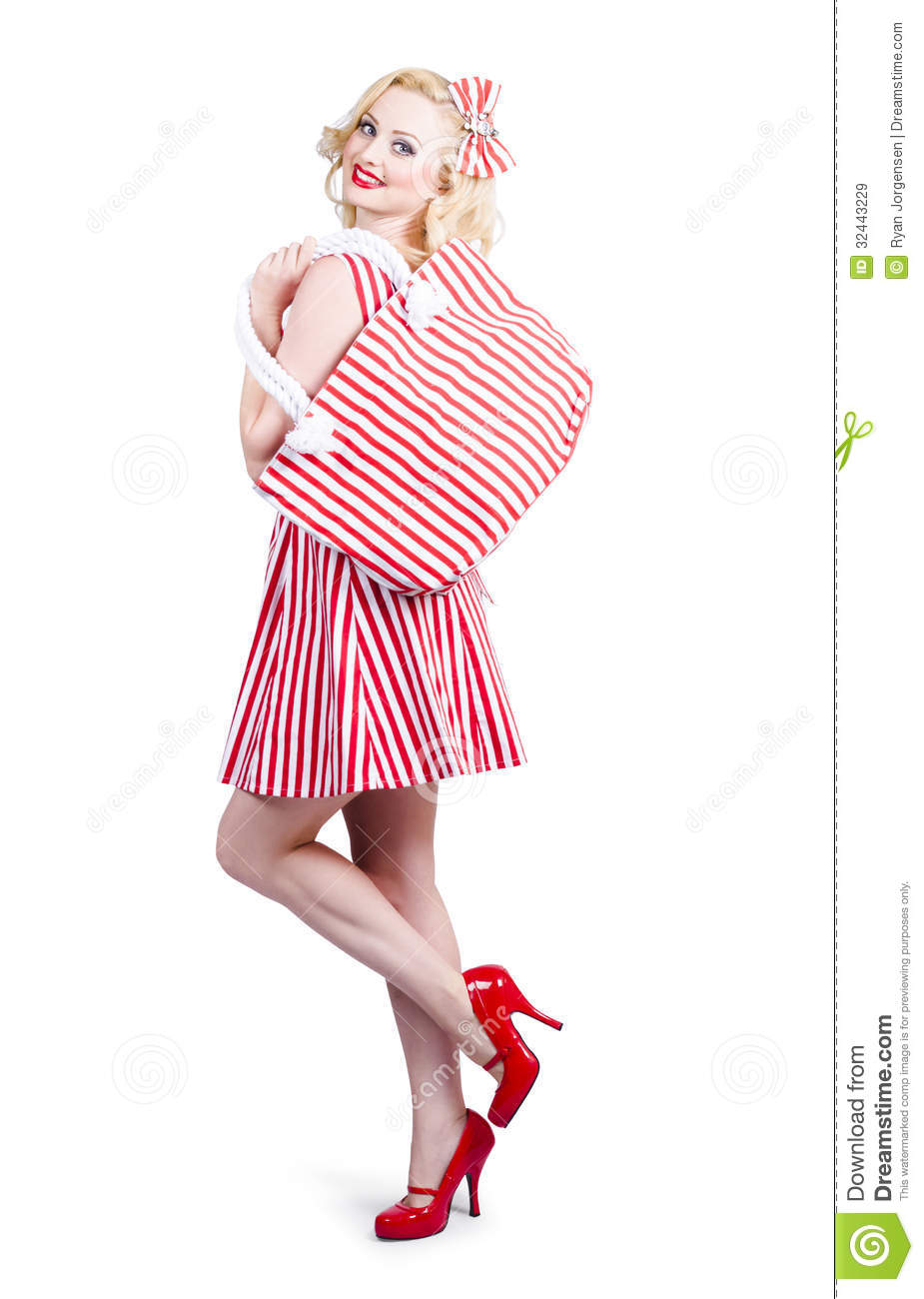 http://thumbs.dreamstime.com/z/pin-up-girl-wearing-stripped-red-dress-holding-bag-picture-vintage-woman-matching-posing-fashion-accessory-shopping-32443229.jpg