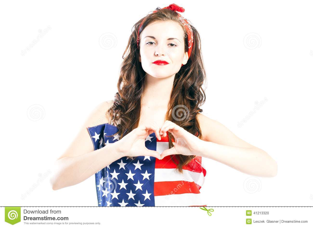 Pin Up Girl Wrapped In American Flag With Hand In Heart Form Stock ...