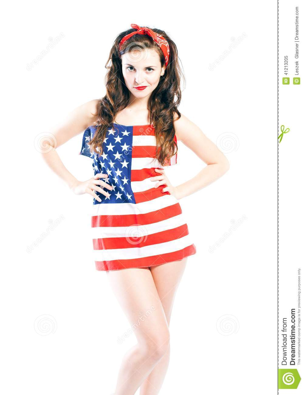 Pin up girl wrapped in american flag stock photo image 41213205 - Photo pin up ...