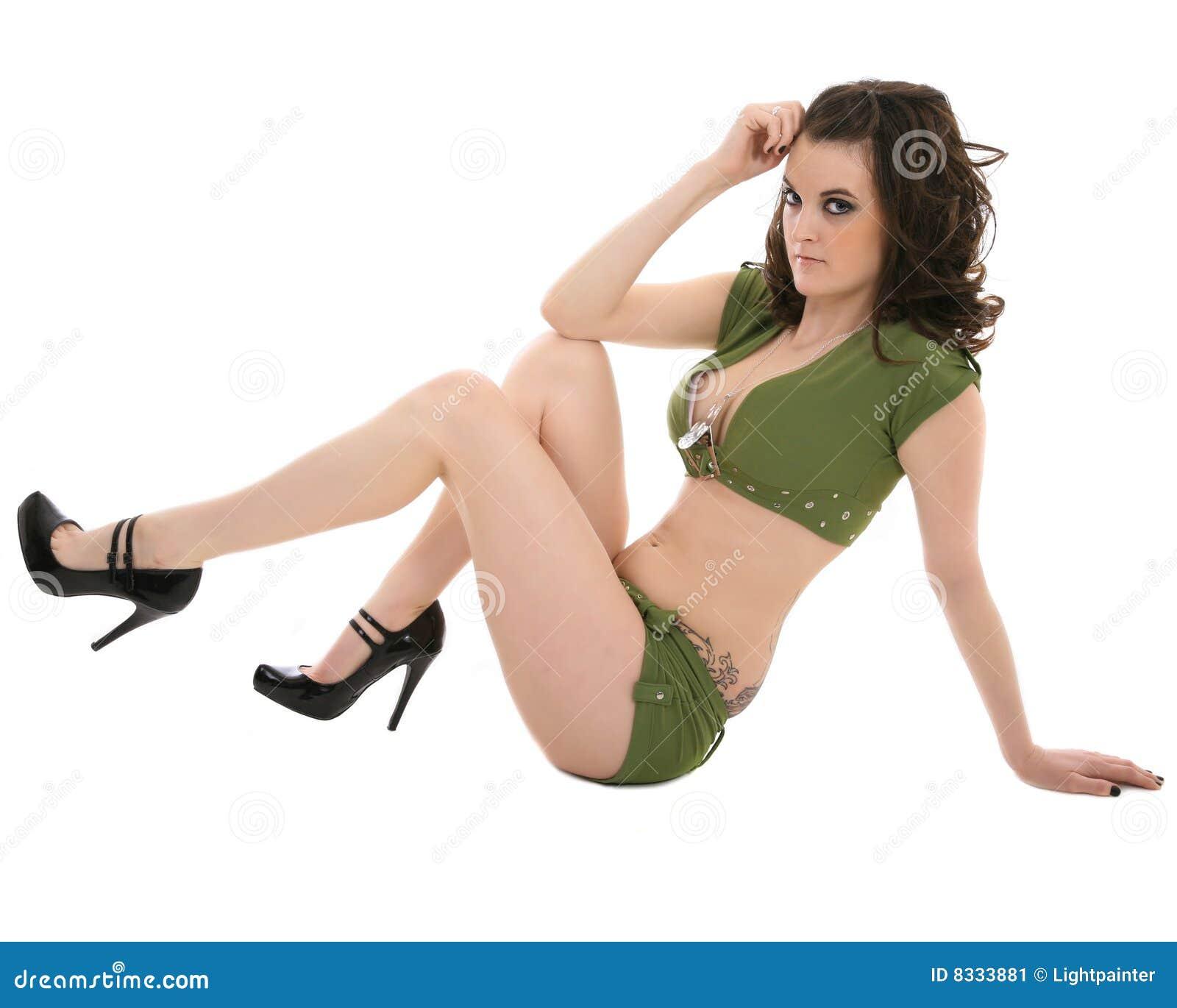 Pin Up Model Hochglanz Erotikfoto Frau nackt 4x