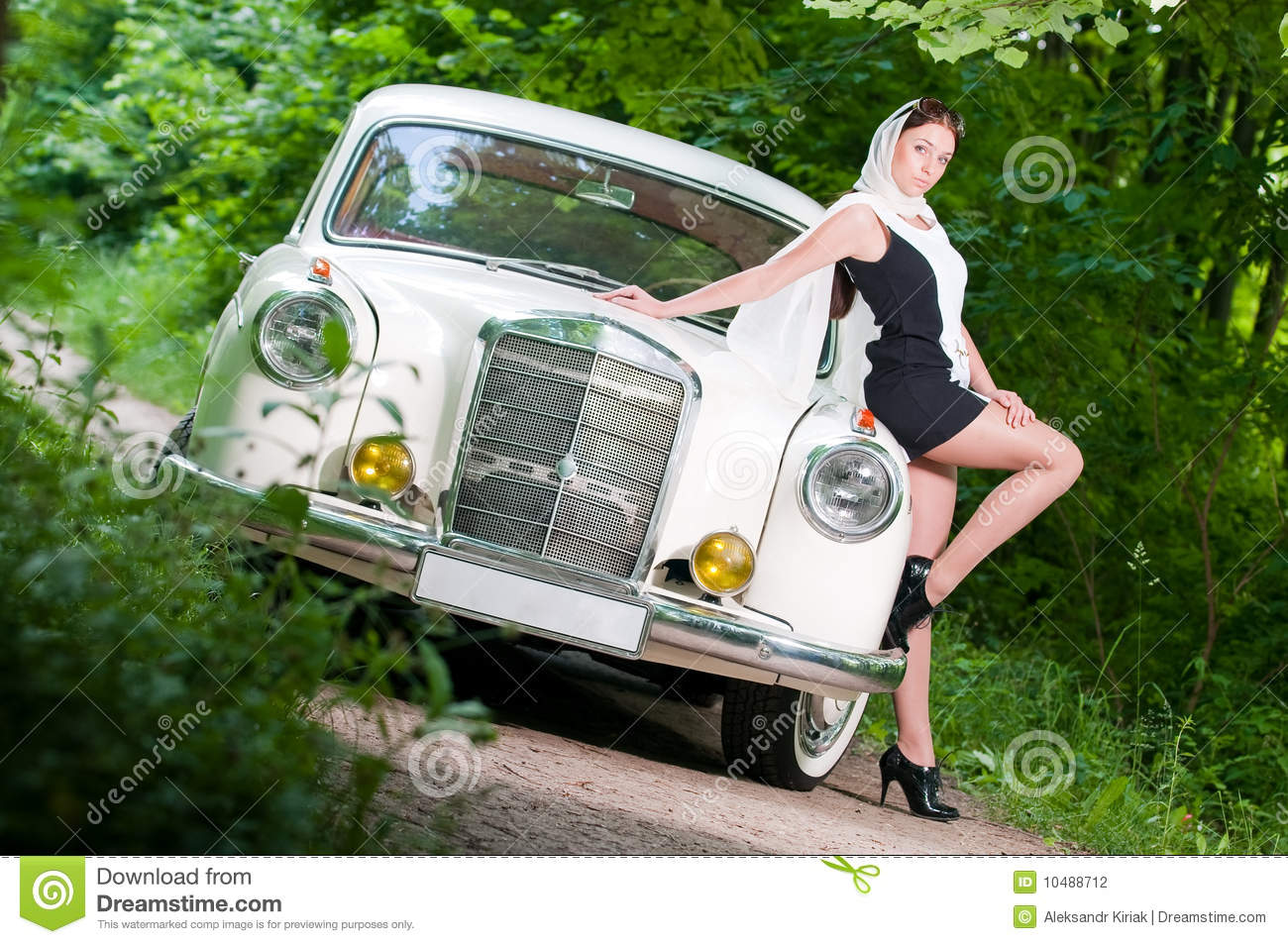 pin up girl car naked