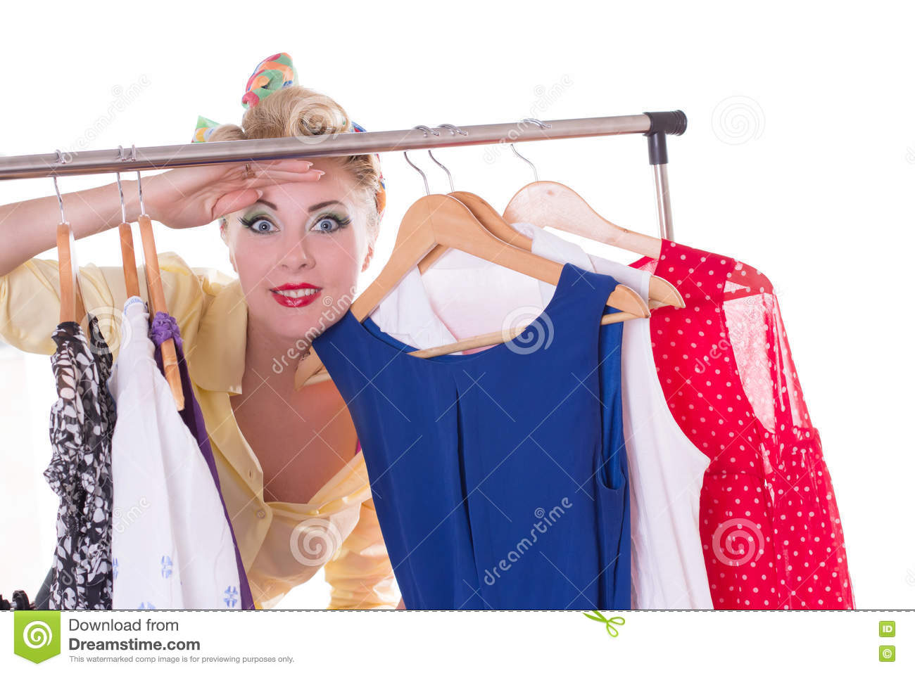 Pin-up woman looking out for shopping sale