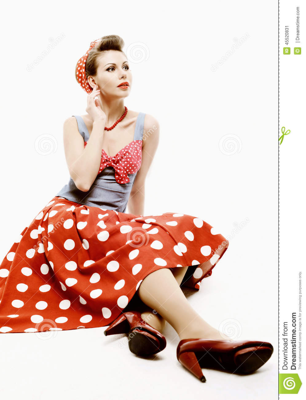 pin up young woman in vintage american style stock image image of clothes professional 45520831. Black Bedroom Furniture Sets. Home Design Ideas