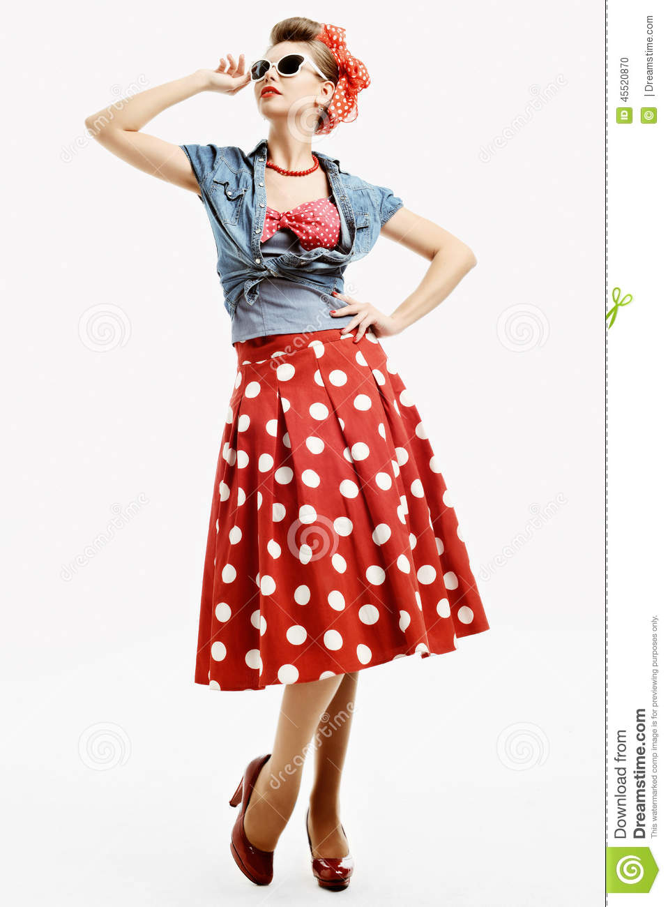 Pin Up Young Woman In Vintage American Style Stock Photo Image 45520870