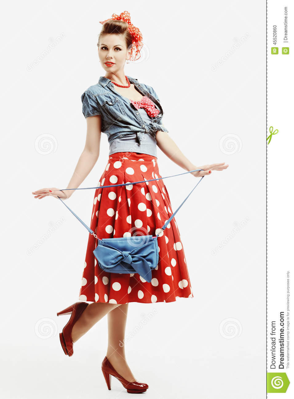 Pin Up Young Woman In Vintage American Style With A Clutch Stock Photo Image 45520860