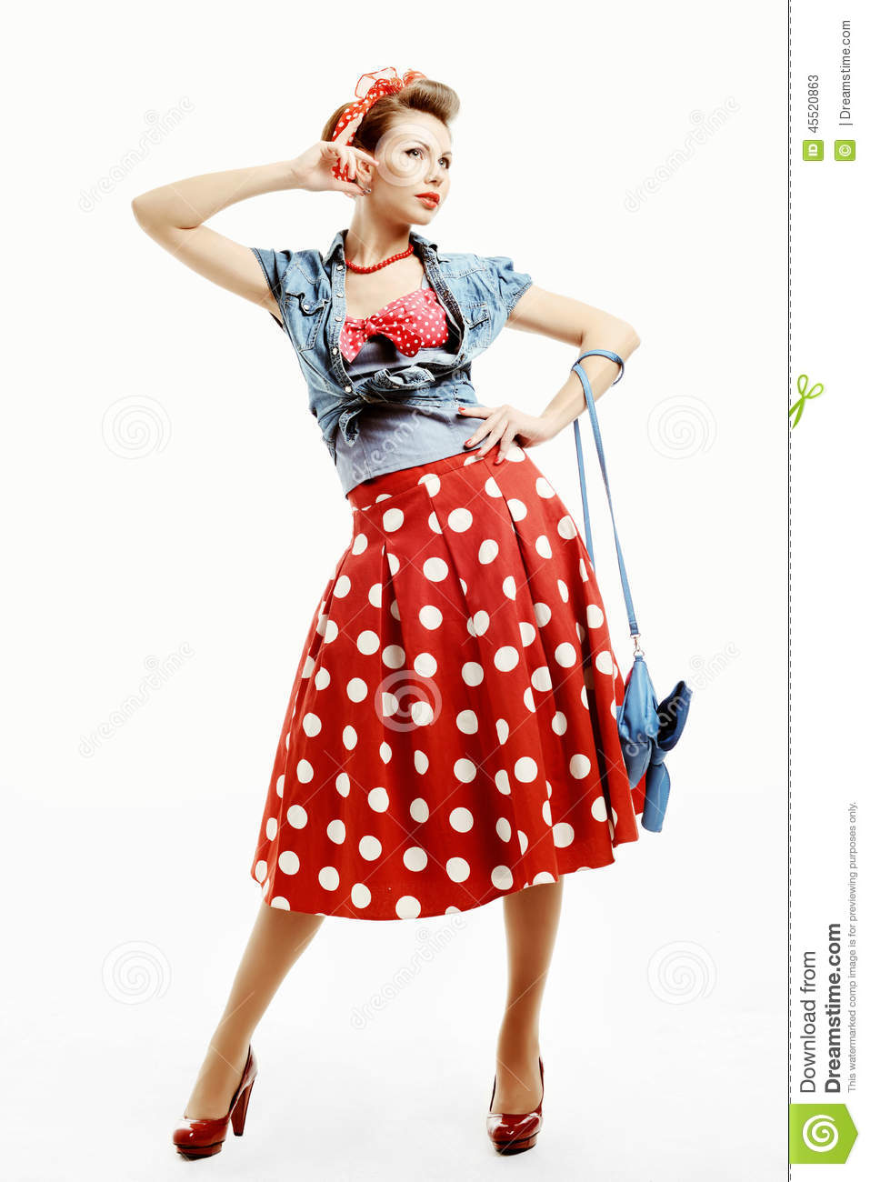 pin up young woman in vintage american style with a clutch. Black Bedroom Furniture Sets. Home Design Ideas