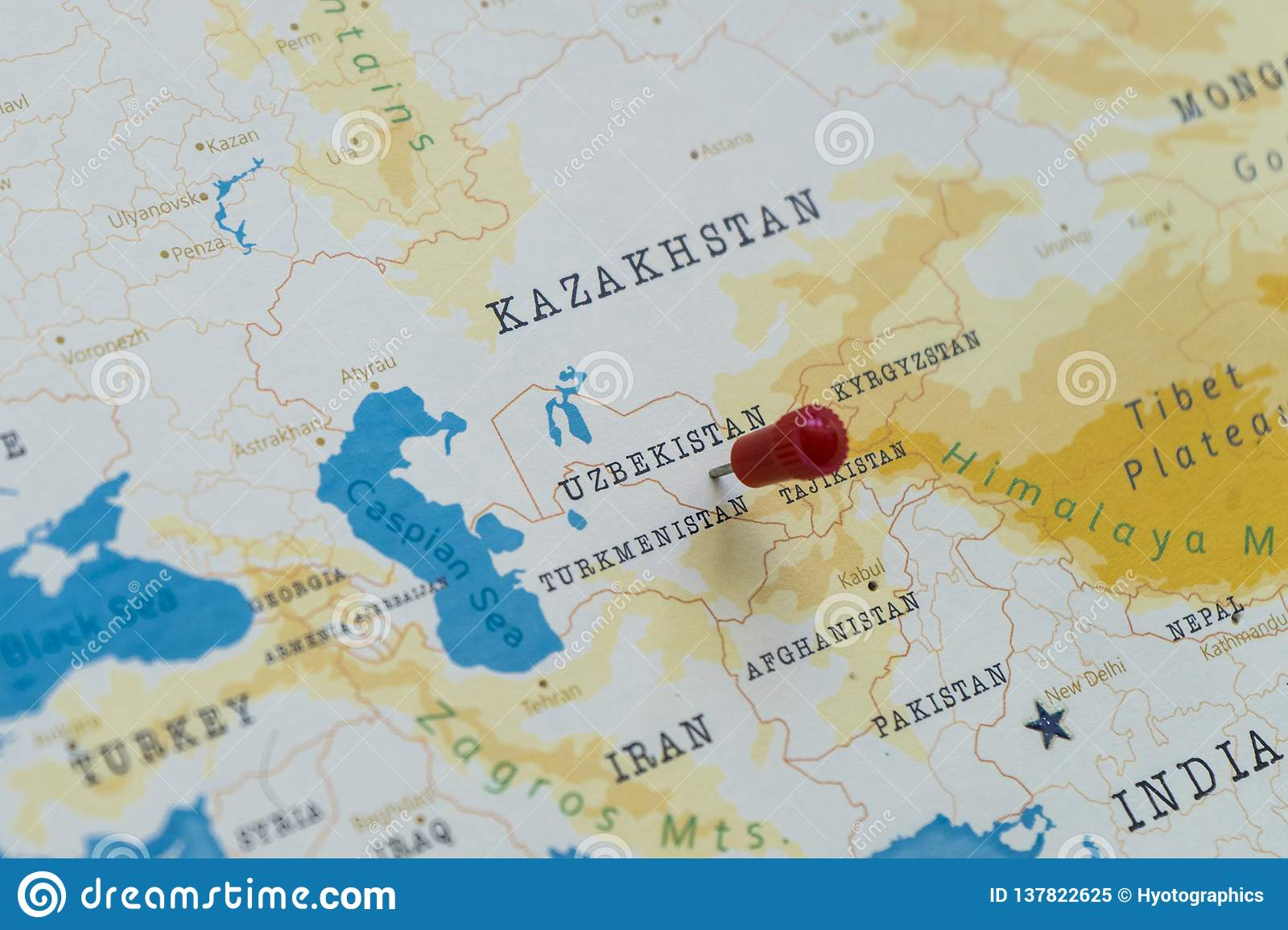 A Pin On Uzbekistan In The World Map Stock Image - Image of ...