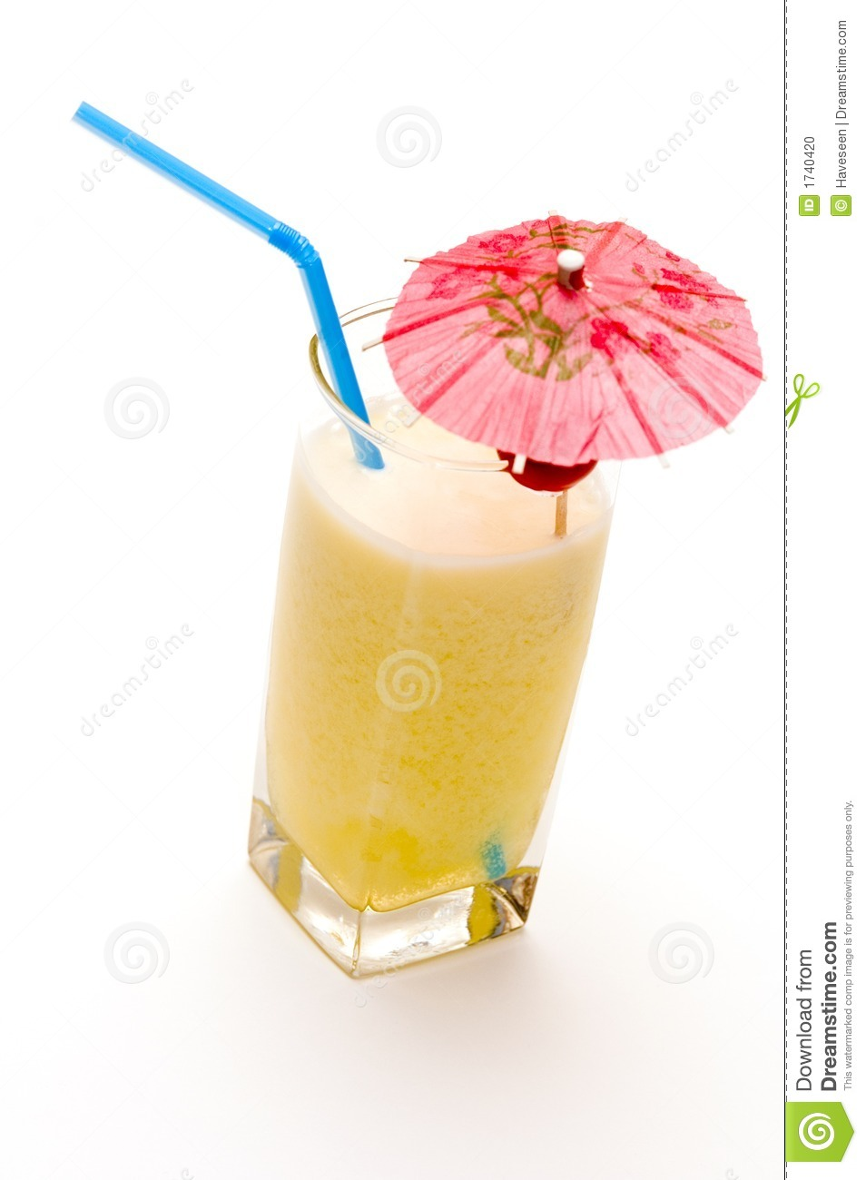 Pina colada cocktail with umbrella isolated on white background.