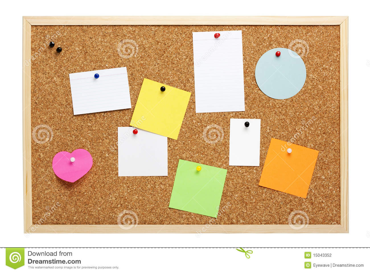 Cork pinboard with wooden frame, various blank notice papers attached ...