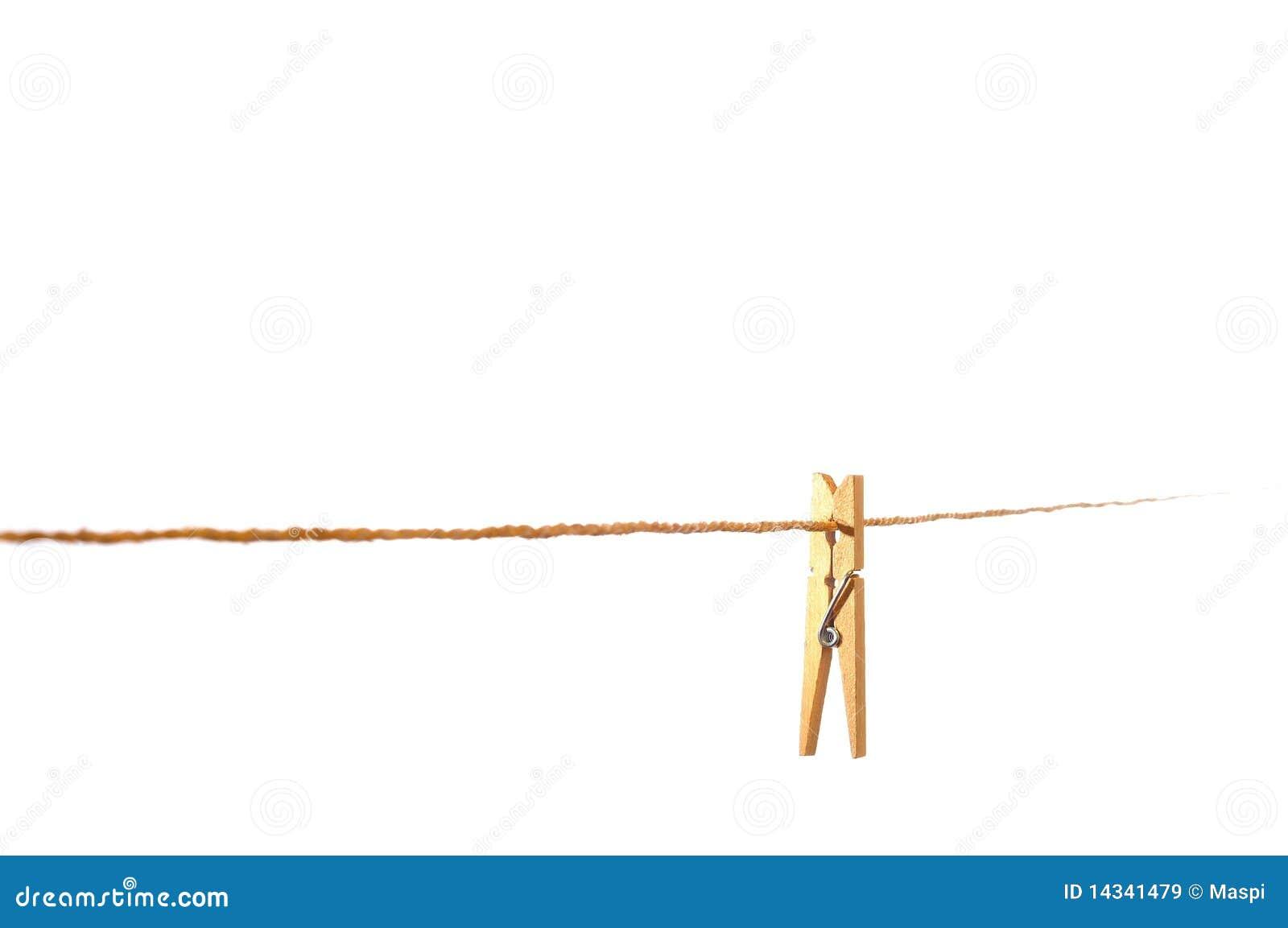 Pince à Linge En Bois Sur Une Corde à Linge Images libres de droits