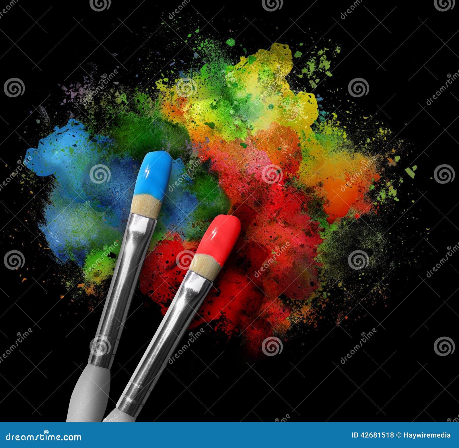 Pinceaux avec des claboussures de peinture sur le noir photo stock image - Nettoyer des pinceaux de peinture ...