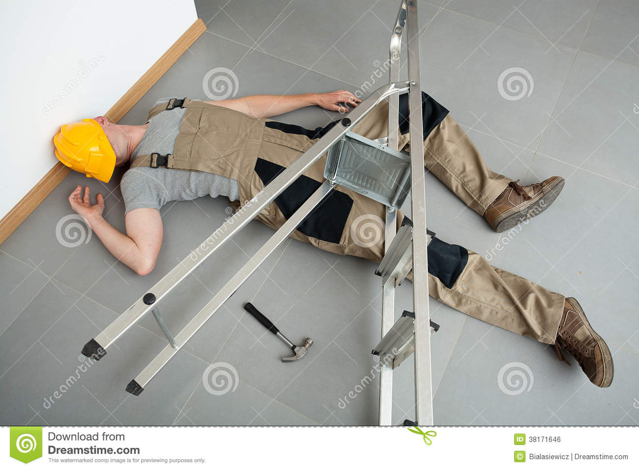 Pinched by a ladder
