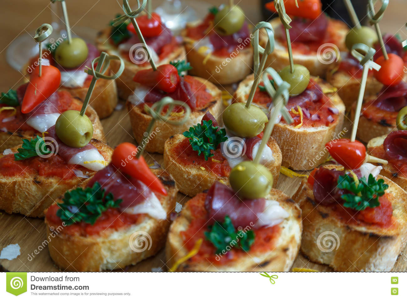 Pinchos Tapas Spanish Canapes Party Finger Food Stock