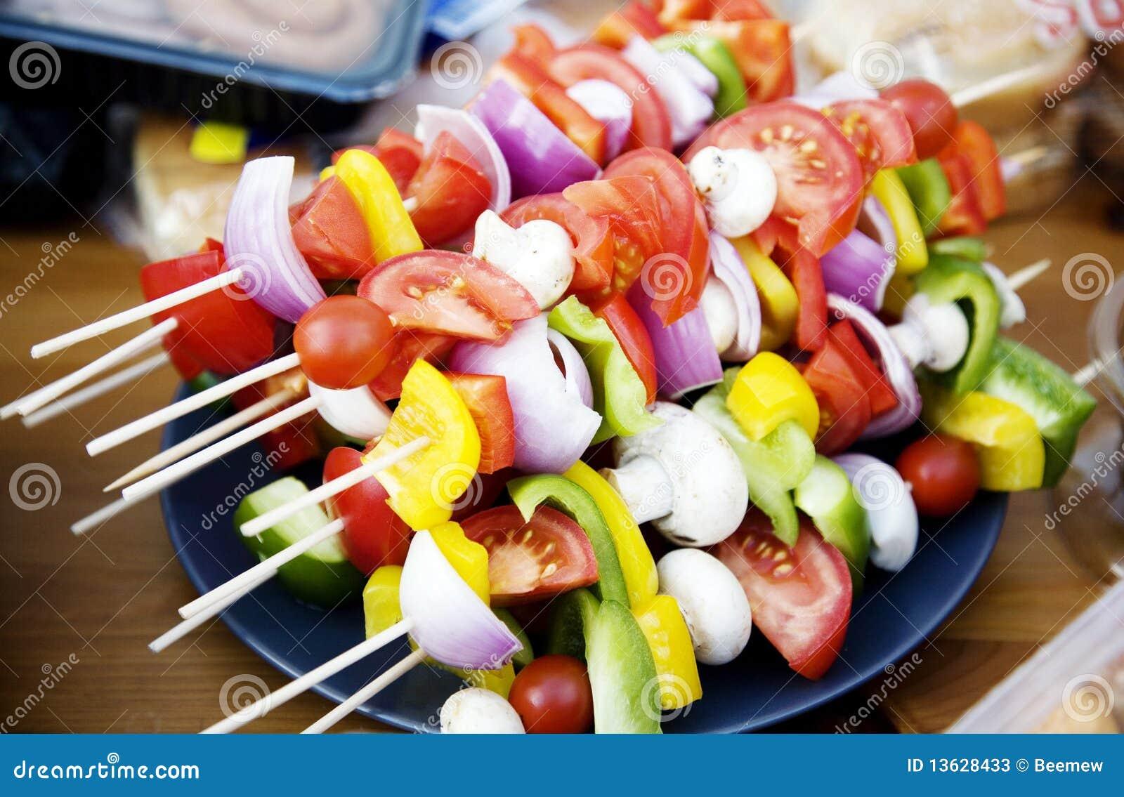 Pinchos vegetarianos del bbq imagen de archivo imagen for Aperitivos para barbacoa