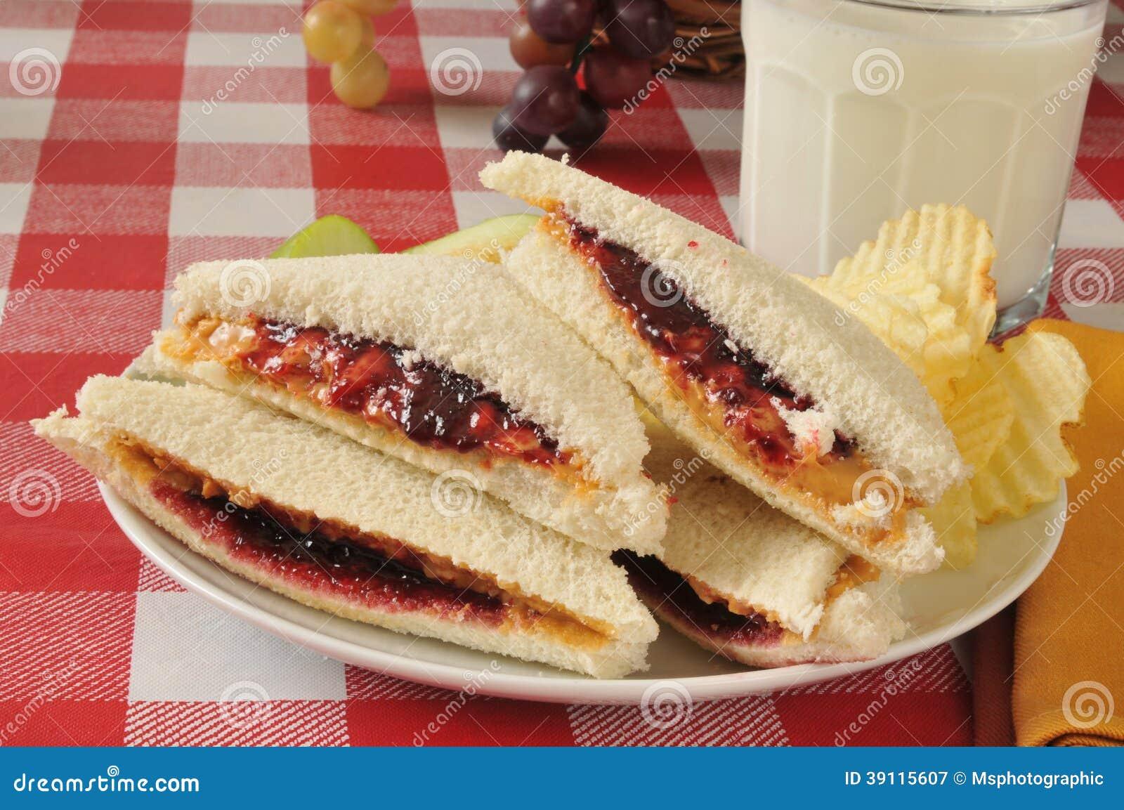 Pindakaas en geleisandwich
