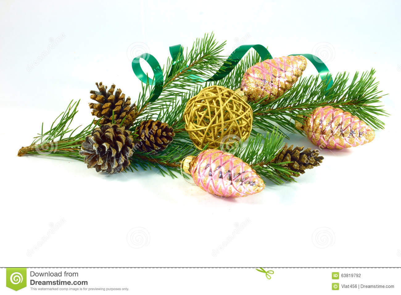 pine branch with pine cones and christmas decorations - Decorating Large Pine Cones For Christmas