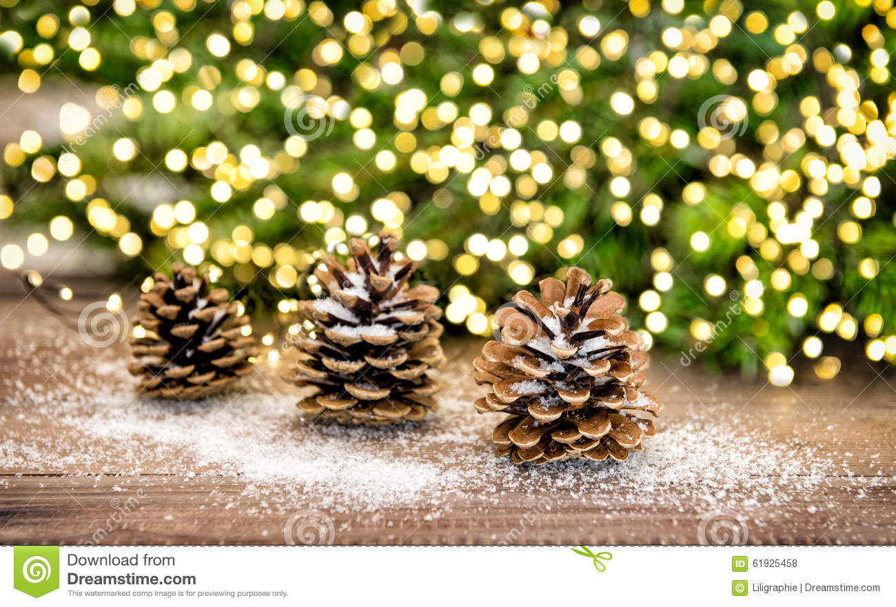Pine Cone And Christmas Tree Branches With Lights Decoration Stock ...