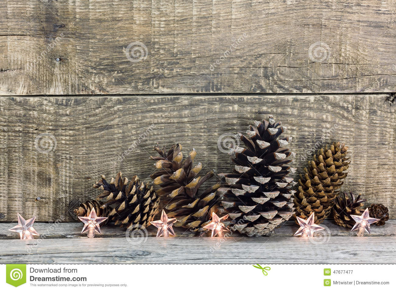 Pine Cones With Christmas Lights Decoration Stock Image