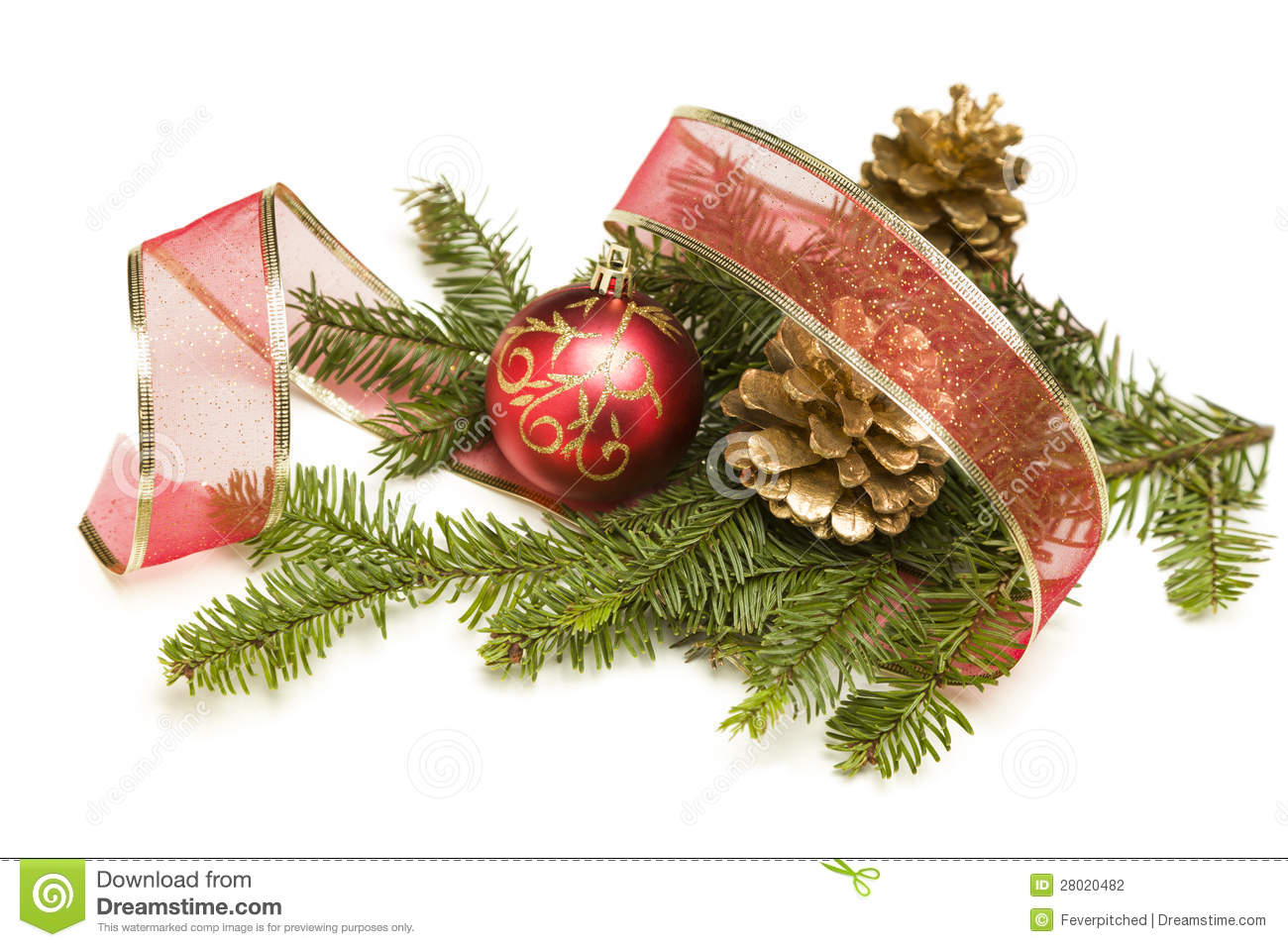Pine Cones, Christmas Ornaments, Red Ribbon And Pine ...