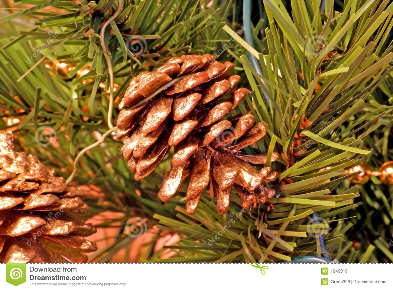 Pine cones christmas tree ornaments royalty free stock for Pine cone tree decorations