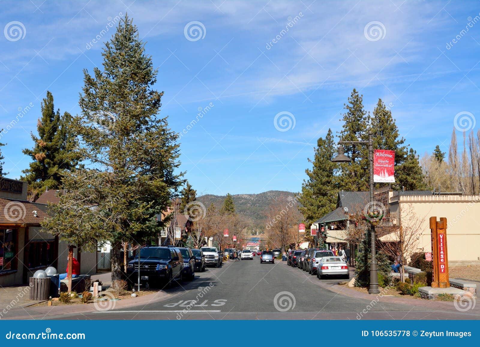 Big Bear Christmas.Pine Knot Avenue In Big Bear Lake California Editorial