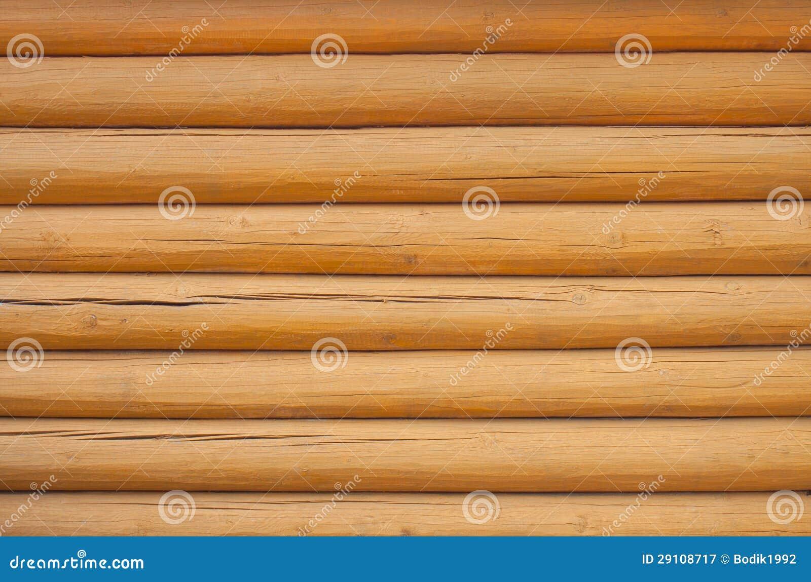 Pine log wall