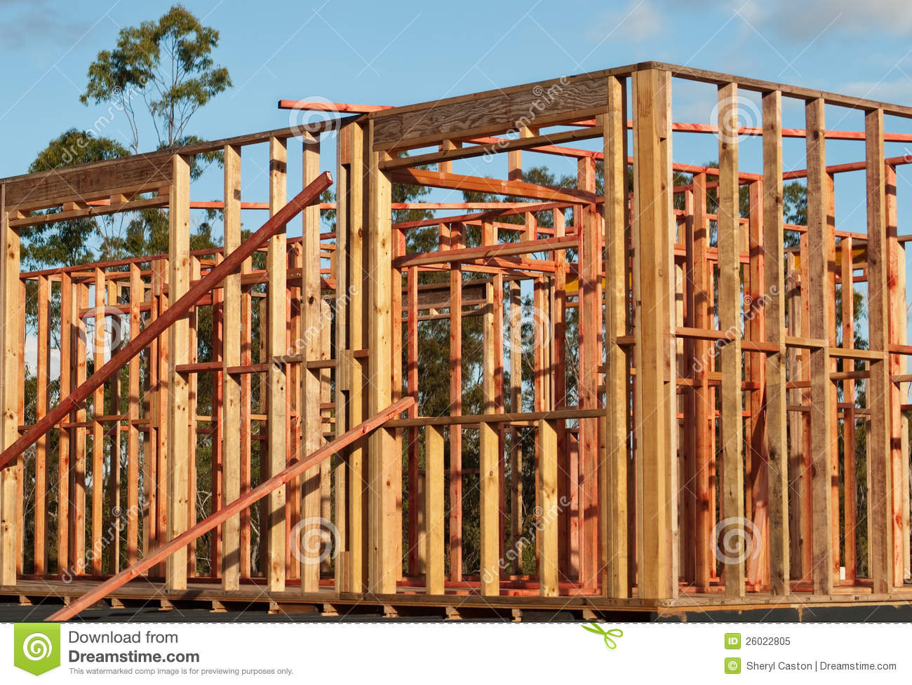 Pine Timber Wall Frames House Structure Stock Image ...