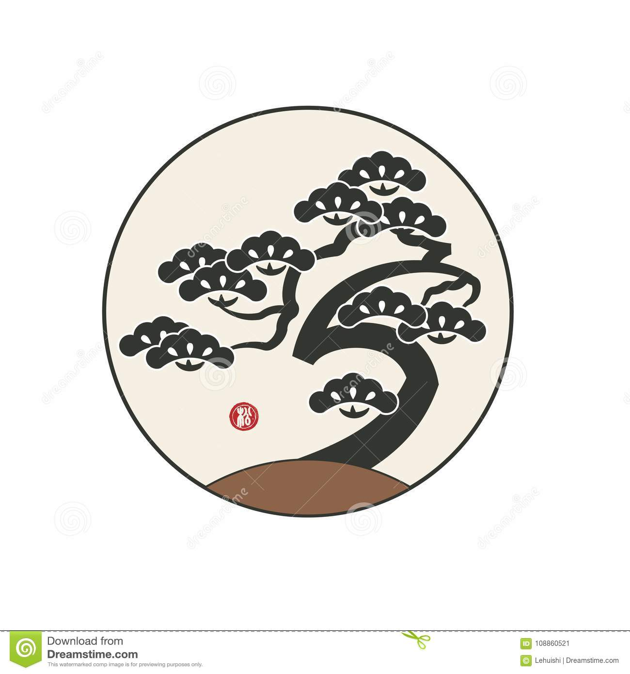 Pine Tree With Asian Traditional Style Stock Vector Illustration