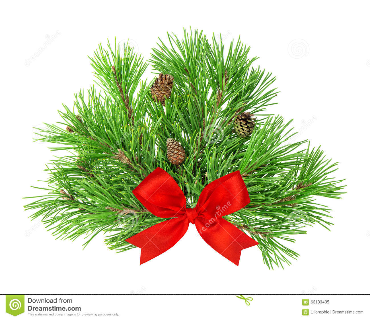 Pine tree branches with cones and red ribbon bow for Red ribbon around tree