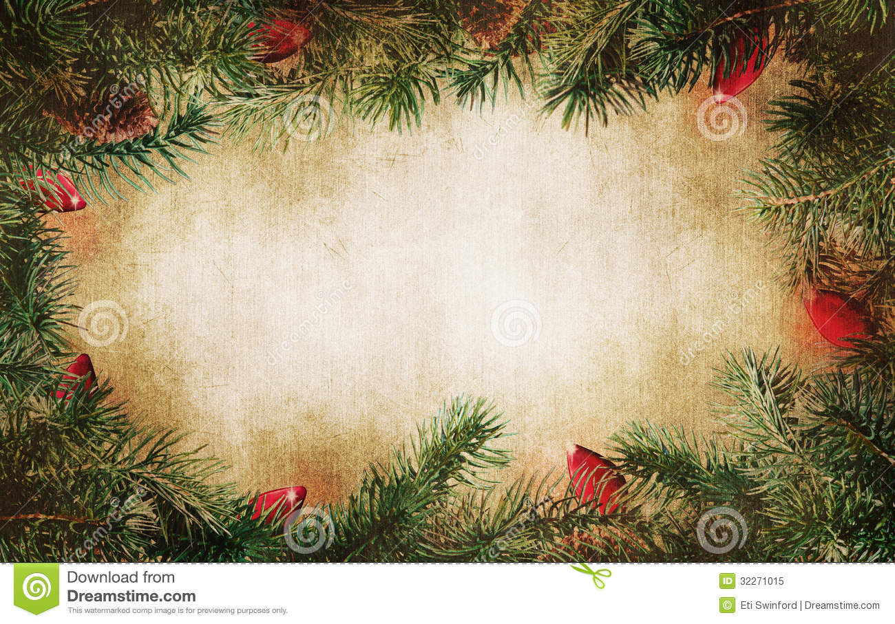 Pine Tree Branches With Christmas Lights Stock Image - Image of ...