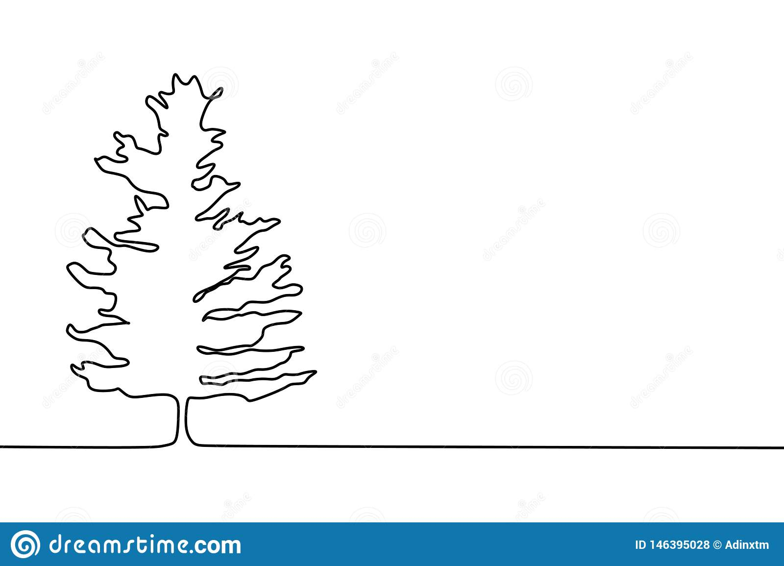 Pine Tree Continuous One Line Drawing Minimalist Design Stock Vector Illustration Of Thin Christmas 146395028