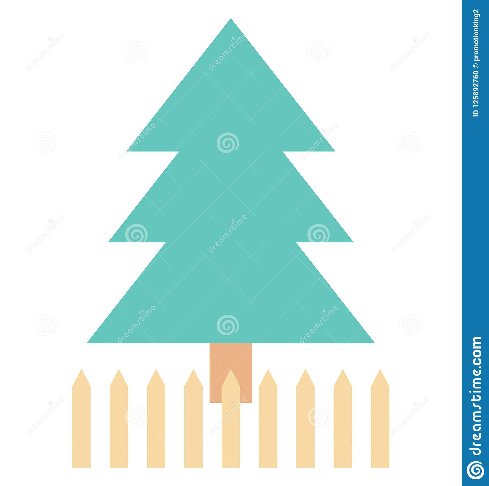pine tree evergreen tree color isolated vector icon stock