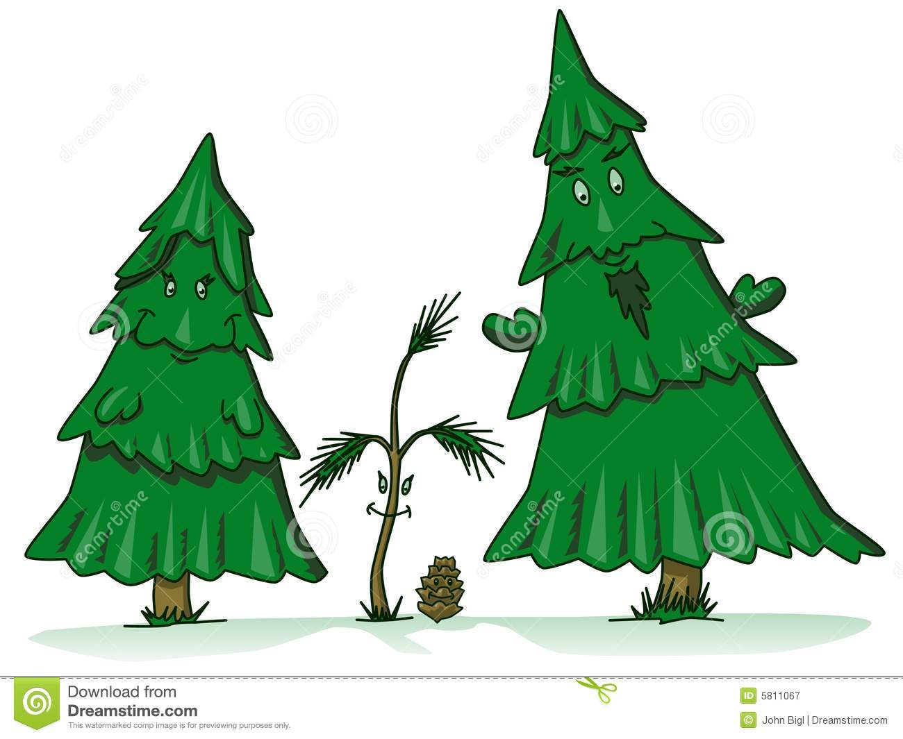 Pine Tree Family Cartoon Royalty Free Stock Photography - Image ...