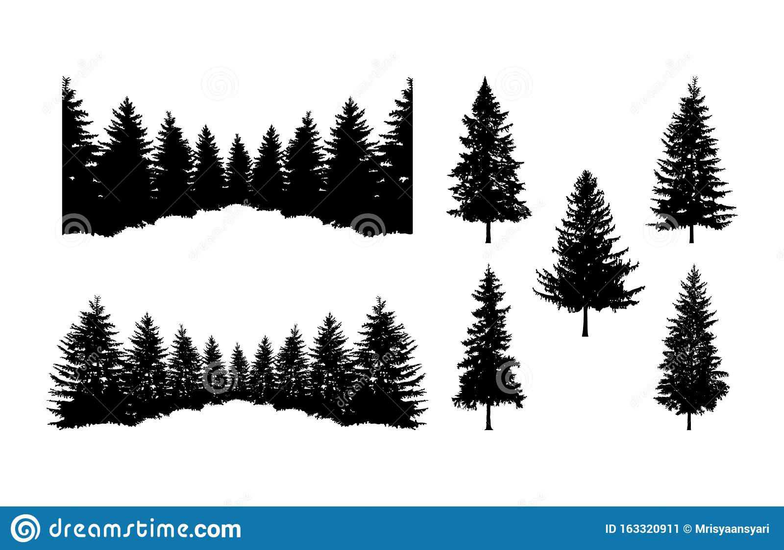 Pine Tree Forest Silhouette Clipart Stock Vector ...
