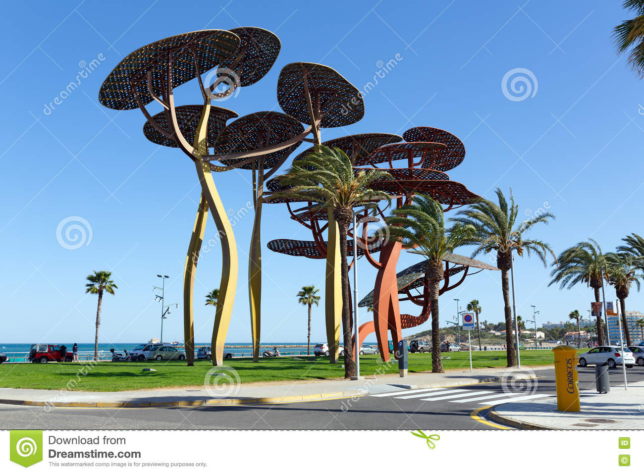the pine tree sculpture on the seafront promenade in la pineda spain editorial stock photo. Black Bedroom Furniture Sets. Home Design Ideas