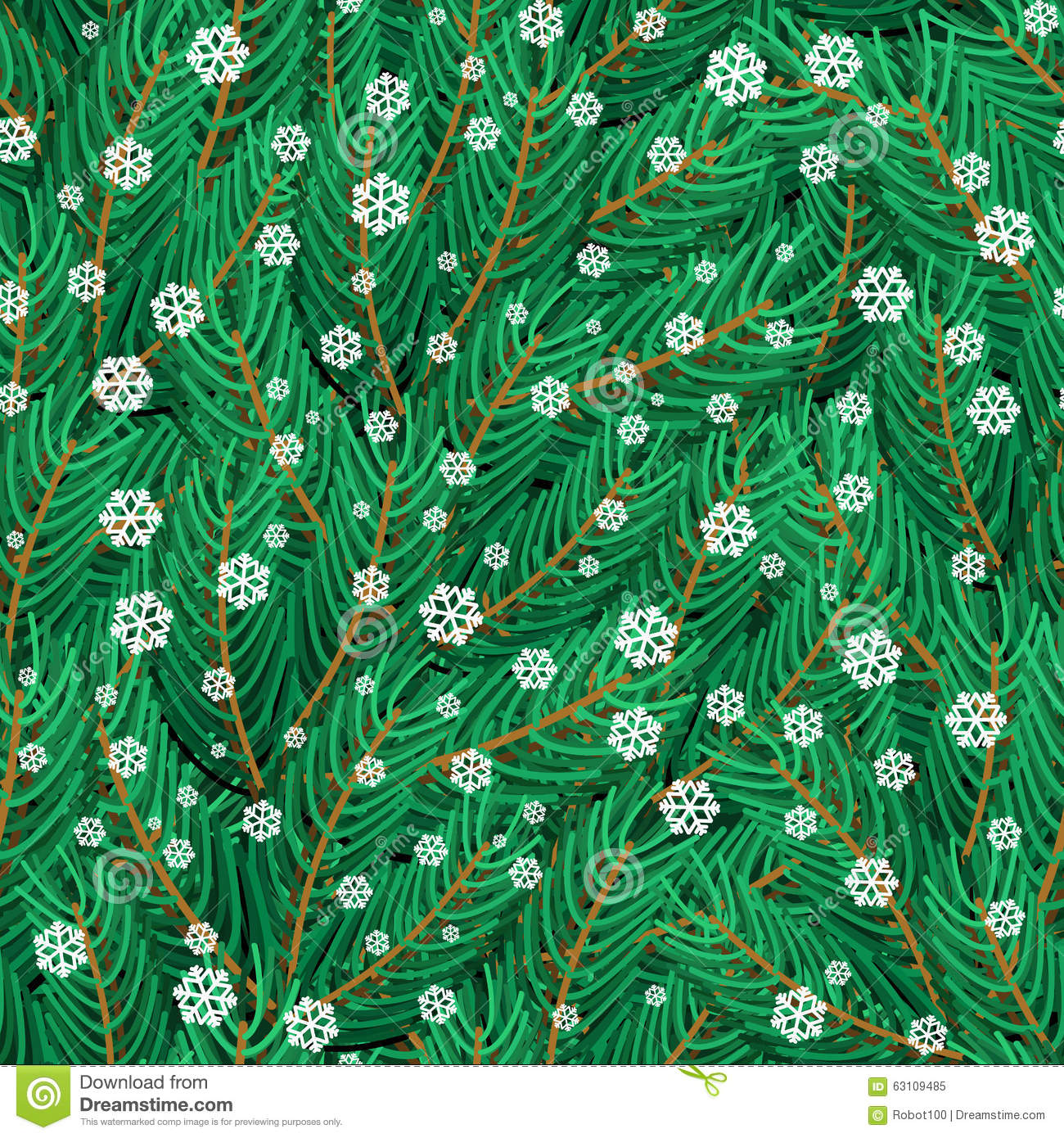 Pine Twigs And Snowflakes Seamless Pattern Stock Photo