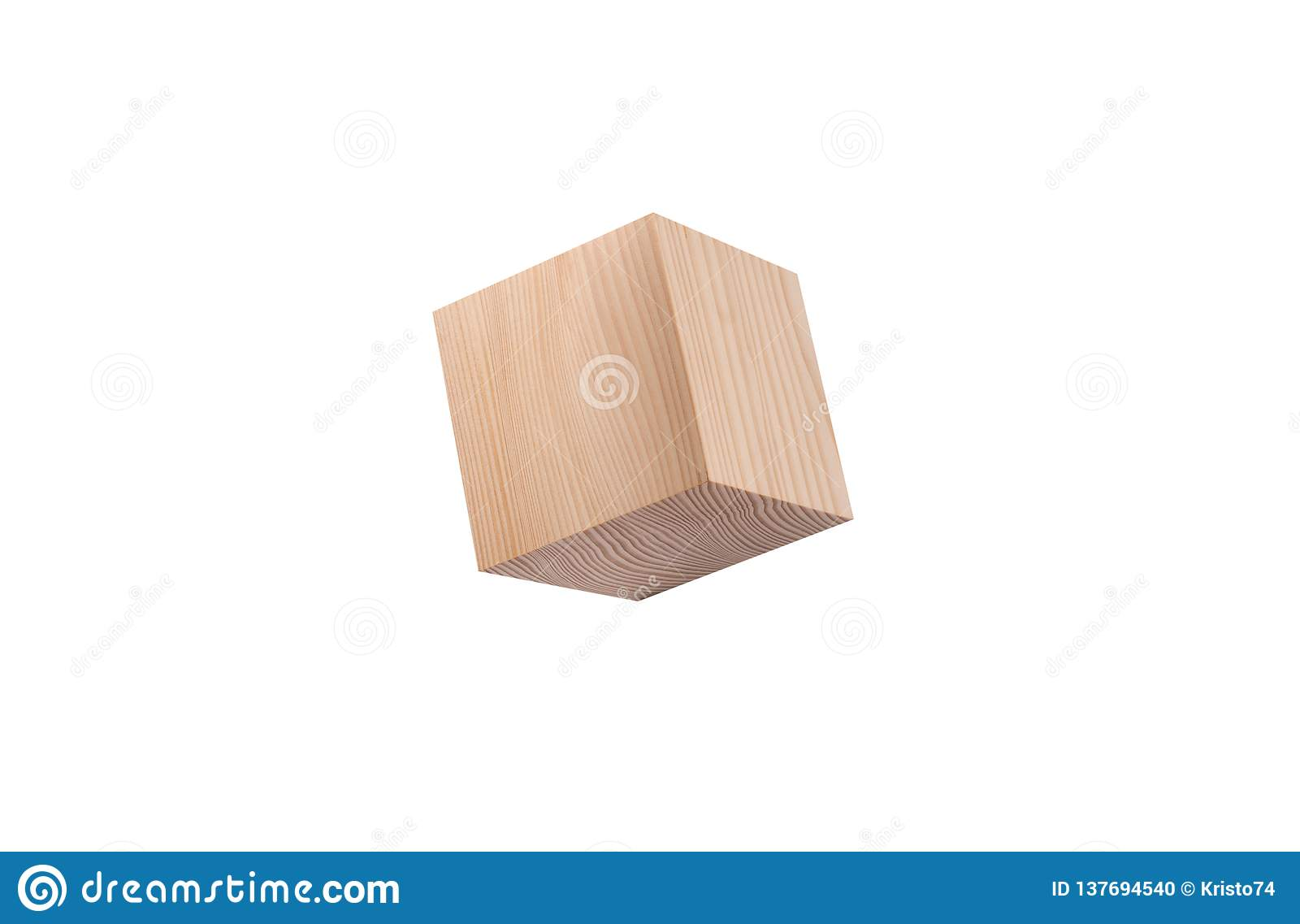 Pine wooden cube.