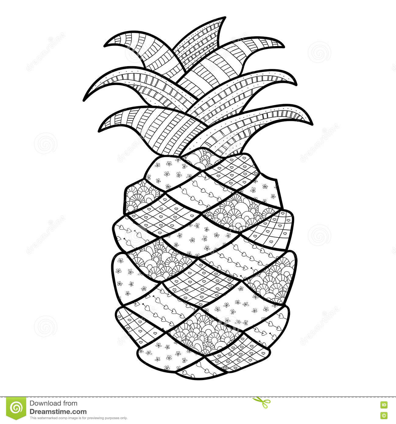 Pineapple Coloring Page Stock Illustrations – 100 Pineapple ... for Clipart Pineapple Black And White  58cpg