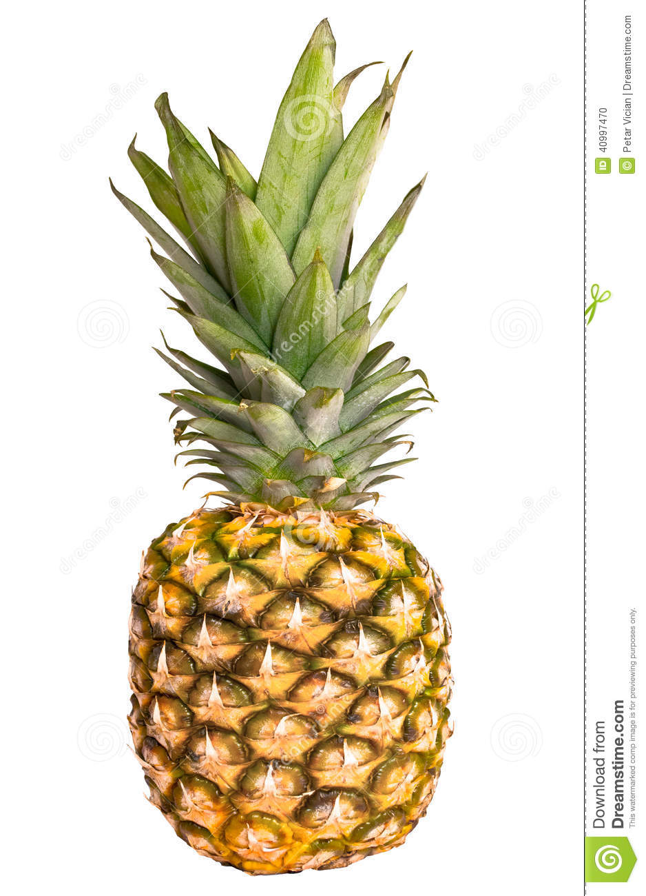 Pineapple Ananas Fruit Isolated On White Background Stock