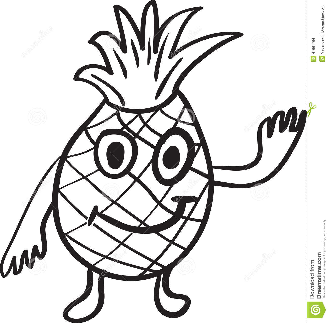 cartoon pineapple coloring page - pineapple cartoon sketch stock vector illustration of